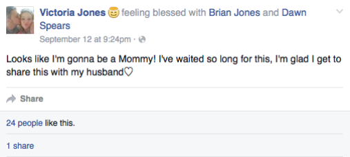 victoria jones pregnancy announcement