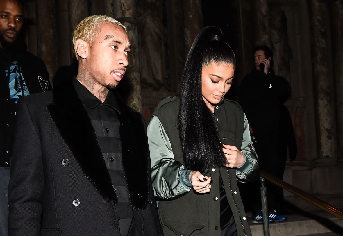 tyga and kylie jenner at fashion week in february 2016 getty