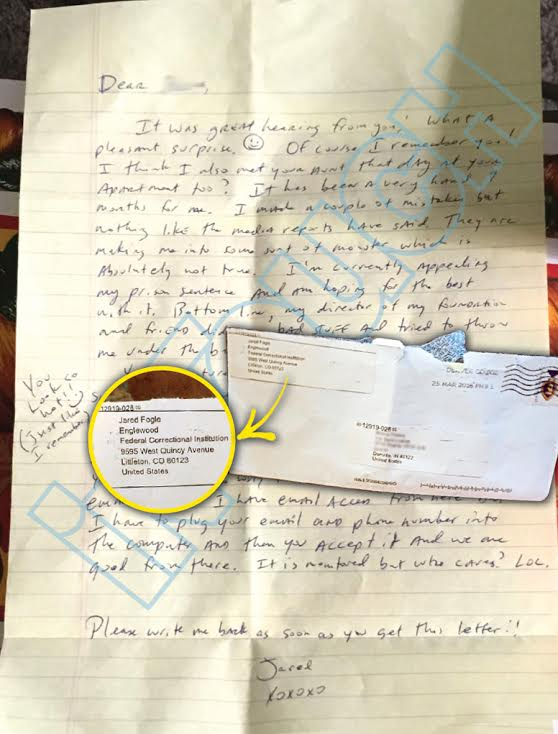 jared fogle letter in touch