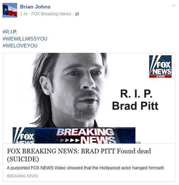 brad pitt death hoax facebook