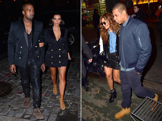 beyonce and jay z, kim kardashian and kanye west