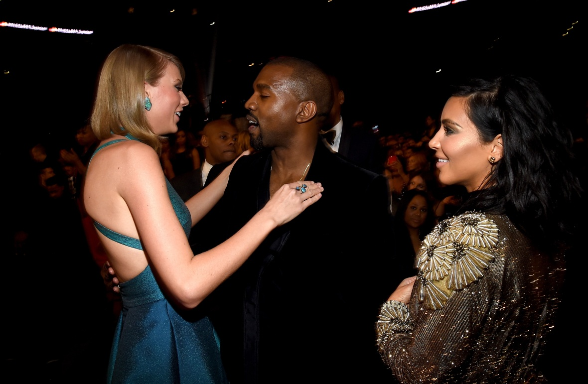kim kardashian kanye west taylor swift getty images