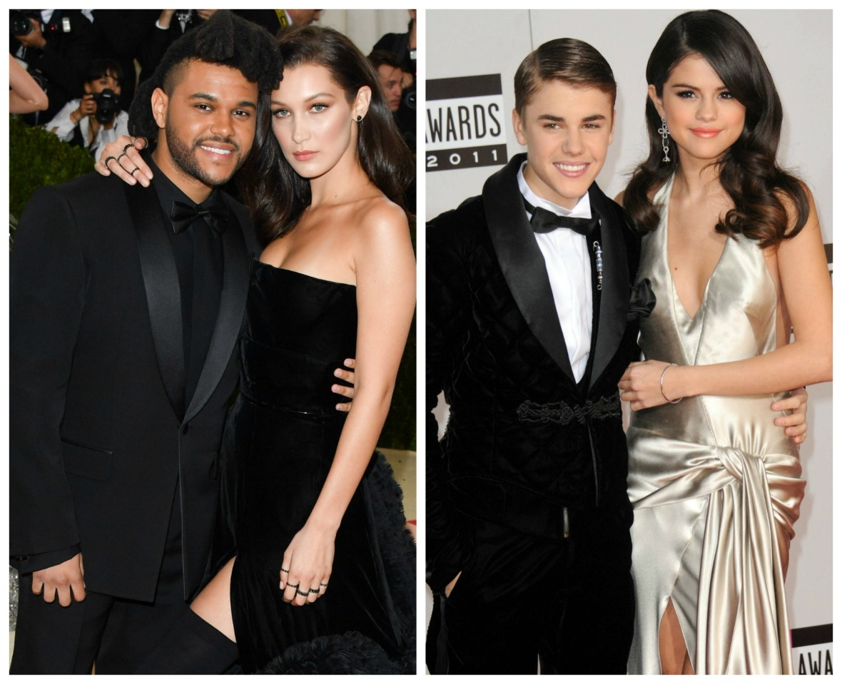 the weeknd bella hadid justin bieber selena gomez getty images