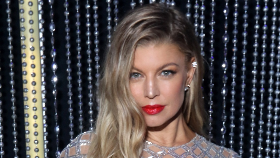 Fergie Smiles in Silver Dress and Red Lipstick
