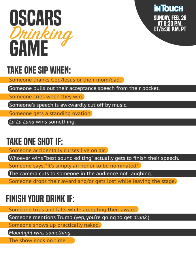 2017 oscars drinking game it