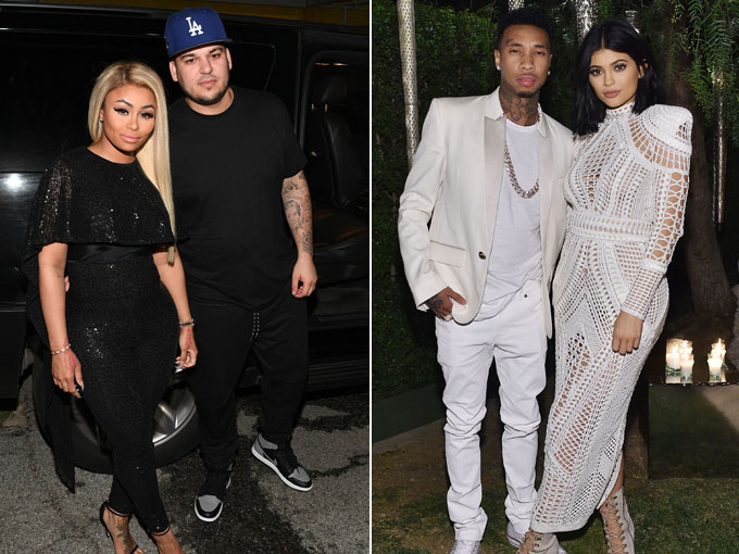 kylie jenner and tyga, rob kardashiana and blac chyna getty images