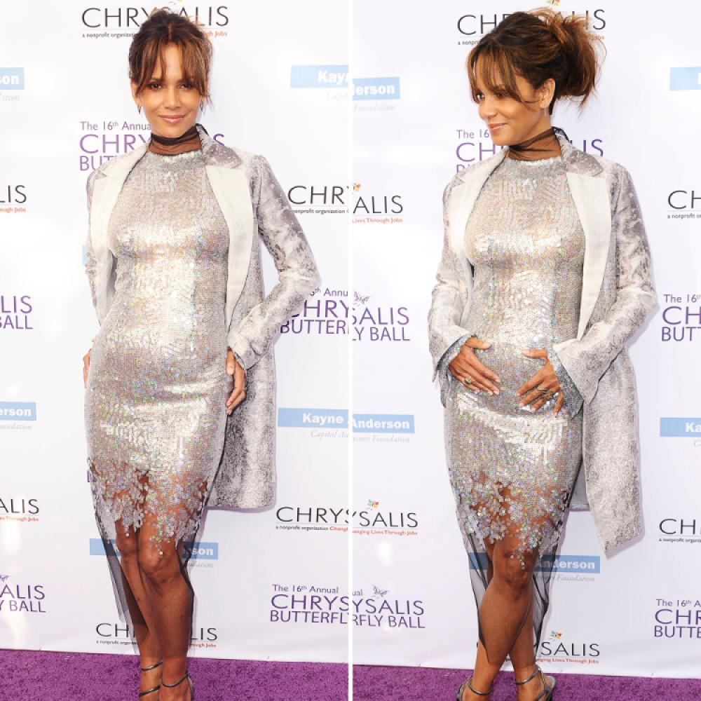 halle berry pregnant getty images