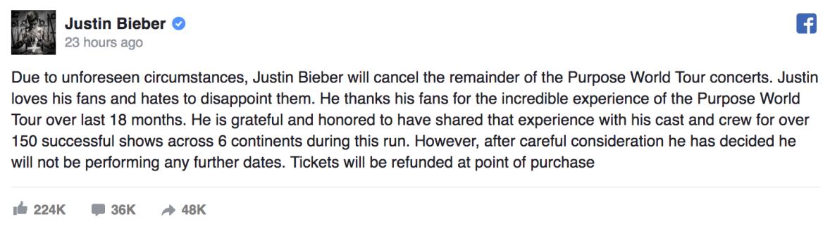 justin bieber cancels tour