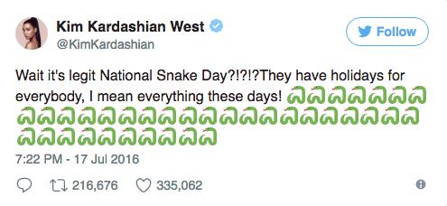 kim kardashian snake tweet
