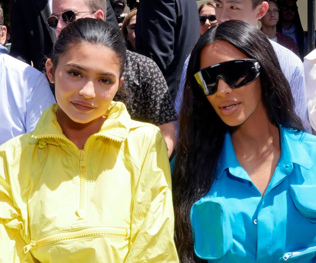 Kylie Jenner and Kim Kardashian at the Louis Vuitton Show