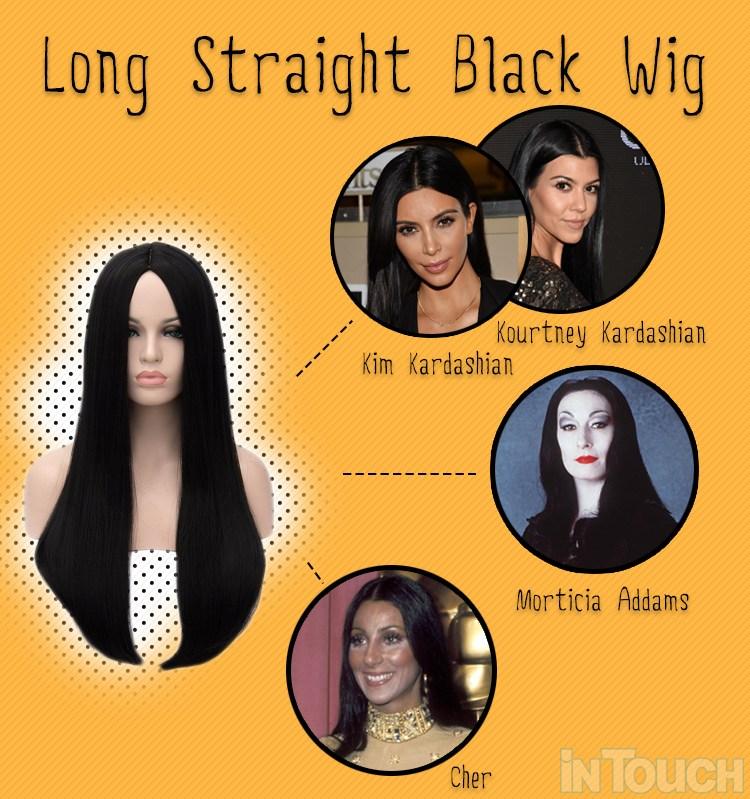 black straight long wig