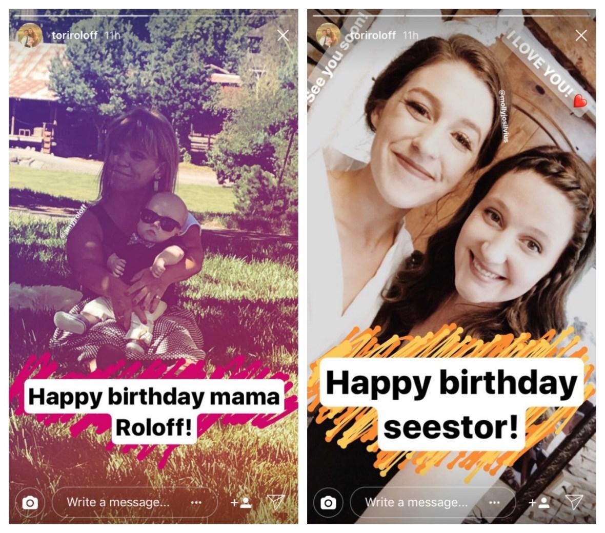 tori roloff amy roloff molly roloff birthday instagram