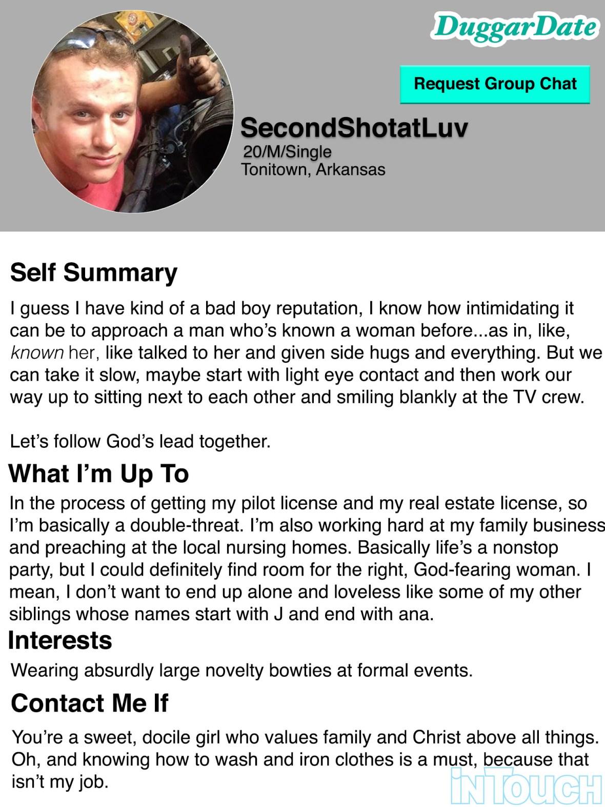 josiah duggar dating profile