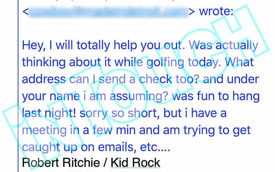 kid rock email 1, in touch