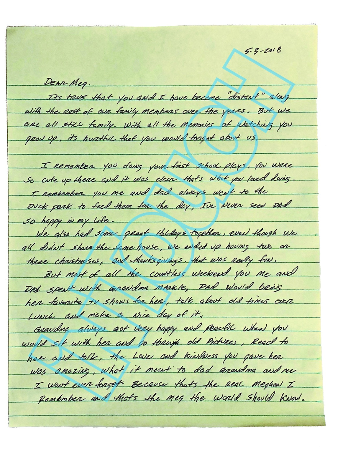 meghan markle brother letter