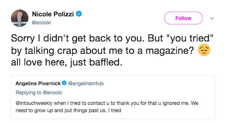 snooki and angelina tweets