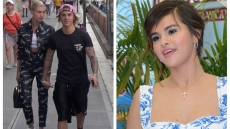 Justin Bieber and Hailey Baldwin side by side with Selena Gomez