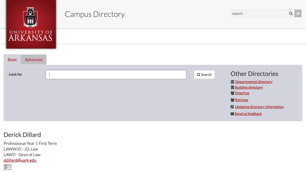 derick dillard campus directory