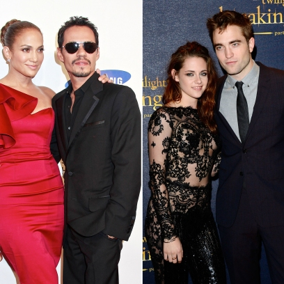 Side-by-Side Photos of Jennifer Lopez and Marc Antony and Kristen Stewart and Robert Pattinson