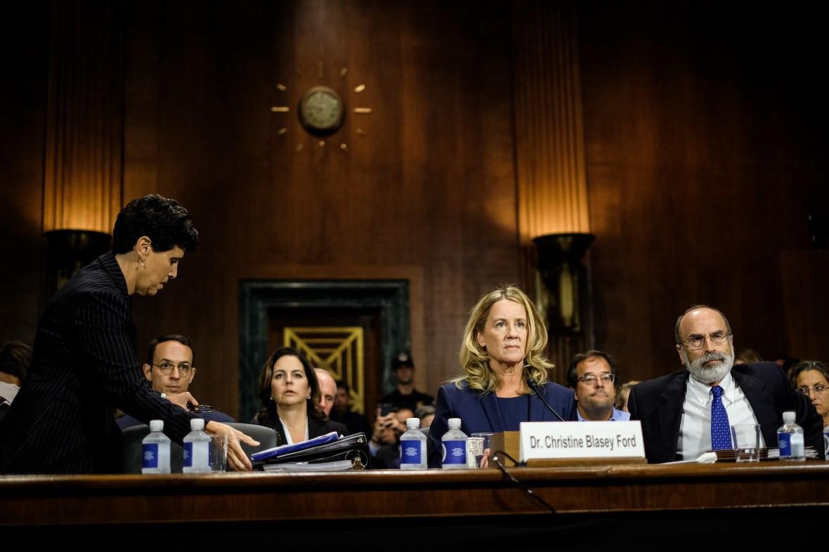 dr. christine blasey ford testifies at brett kavanaugh hearings in front of senate