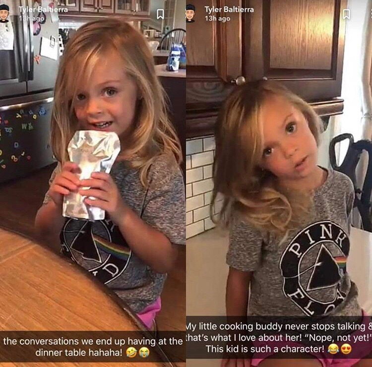screenshots of nova baltierra from dad tyler's snapchat story shows her long blonde hair down