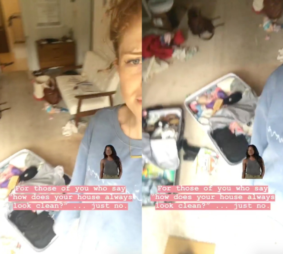 audrey roloff's instagram story about her messy house