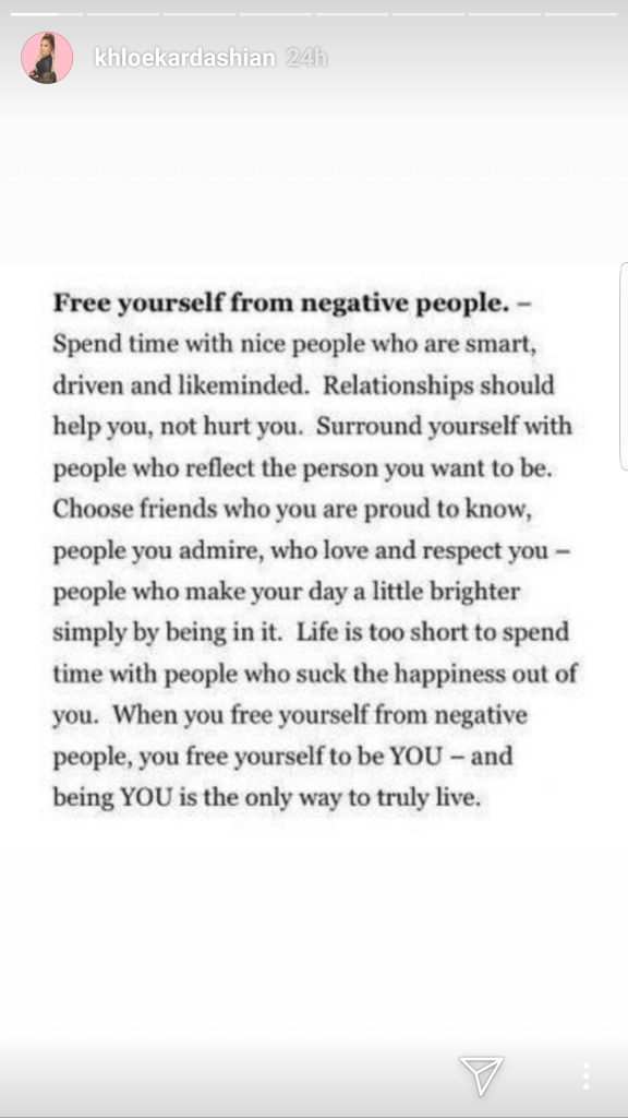 Khloé Kardashian Instagram Story About Negative People