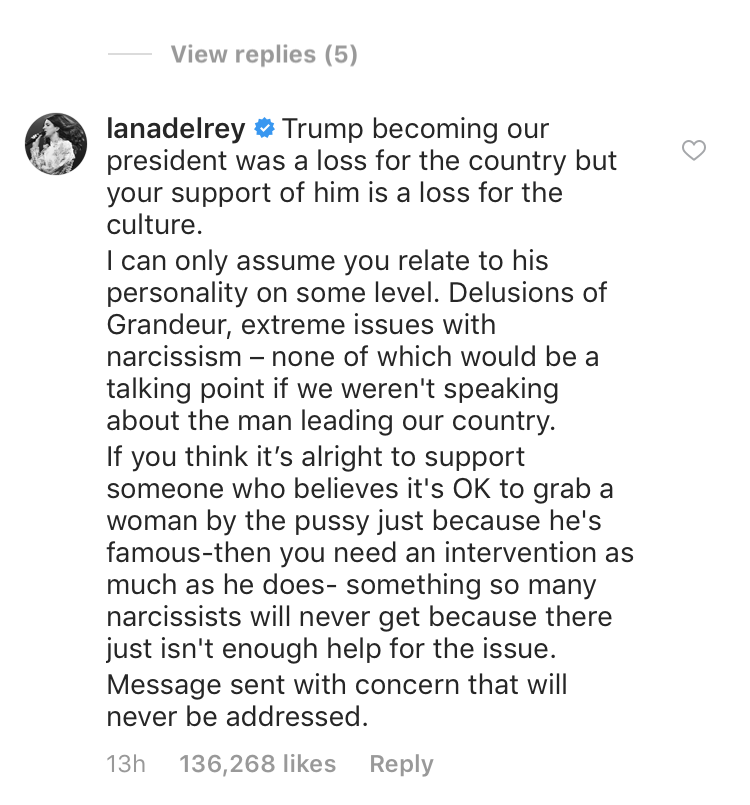 lana del rey slams kanye west for trump support in instagram comment
