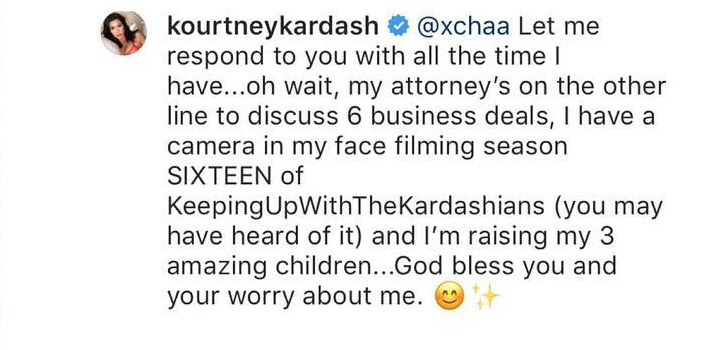 kourtney kardashian claps back on instagram at fan who say she doesn't work