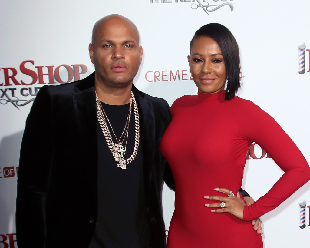 Mel B wearing red with her ex husband Stephen Belafonte