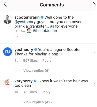 Katy commenting on an Instagram post