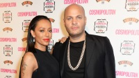 Stephen Belafonte, wearing black and Mel also wearing black at an event