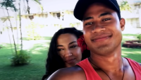 Asuelo And Fiancée Kalani Smile At The Camera