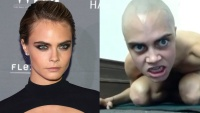 Cara Delevingne and her bald in a video