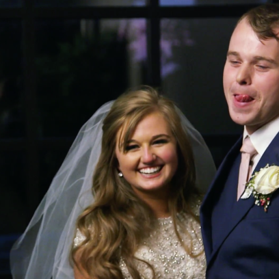 Joseph Licks His Lips Next To Kendra Caldwell At Their Wedding