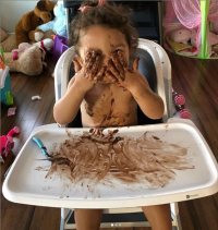 Cheynne and Cory's daughter making a mess