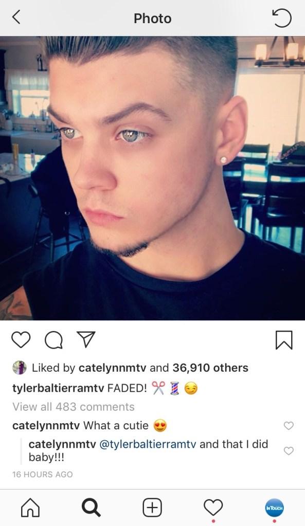 Cate and Tyler flirting on Instagram