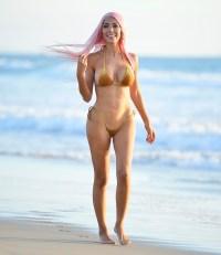Farrah Abraham Gold Velvet Bikini Beach