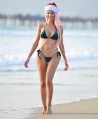 Farrah Abraham Velvet Bikini Christmas Photoshoot