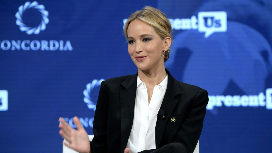 Jennifer Lawrence wearing a suit at an event