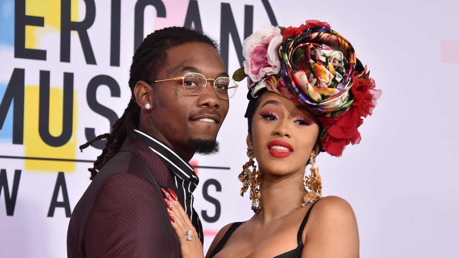 Cardi B and Offset on a carpet together