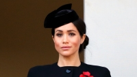 Meghan Markle wearing blue and a hat