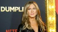 Jennifer Aniston wearing black at a premiere in LA