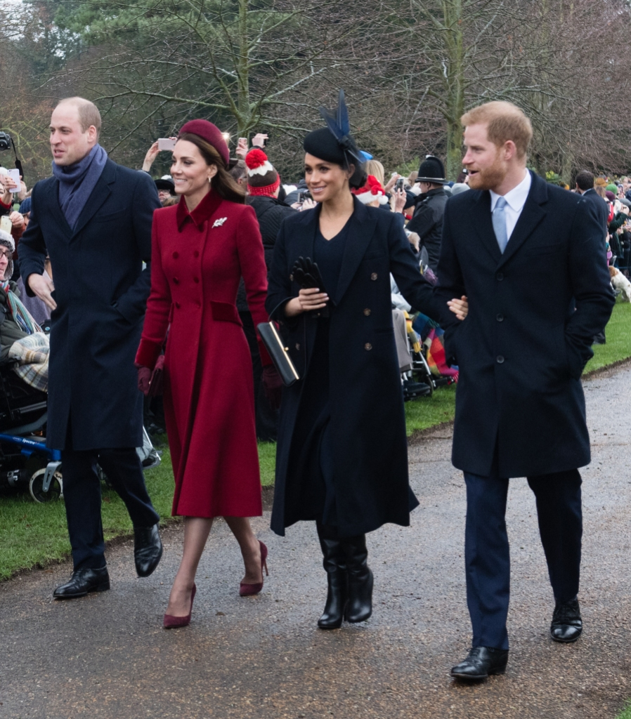 Kate Middleton in red, Meghan Markle, Prince Harry and Prince William all walking together