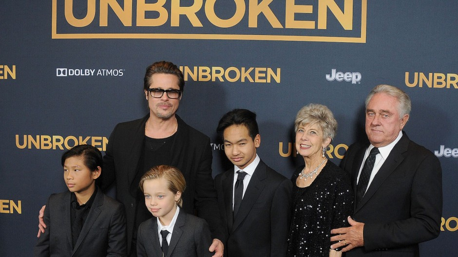 Brad Pitt with his kids at a premeire