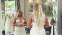 Sarah tries on wedding dress on Love After Lockup