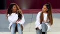 Ariana Grande and Victoria Monét performing at One Love Manchester