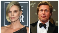 A split image of Charlize Theron and Brad Pitt
