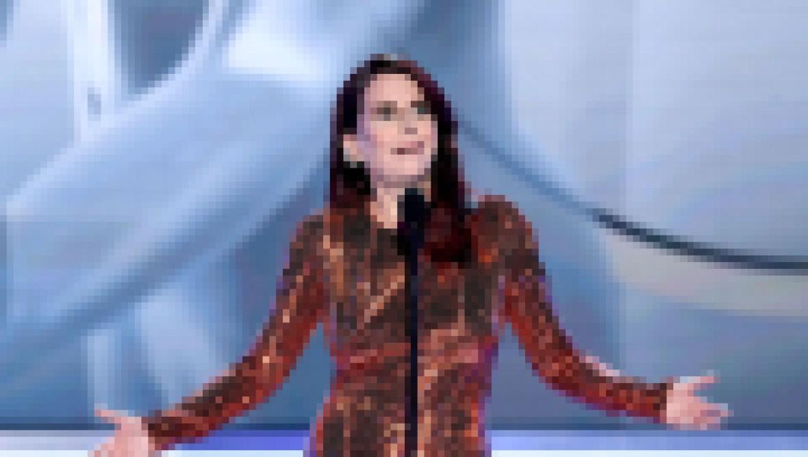Megan Mullally wearing a sequin dress at the SAG Awards