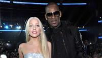 Lady Gaga in a silver dress with R. Kelly